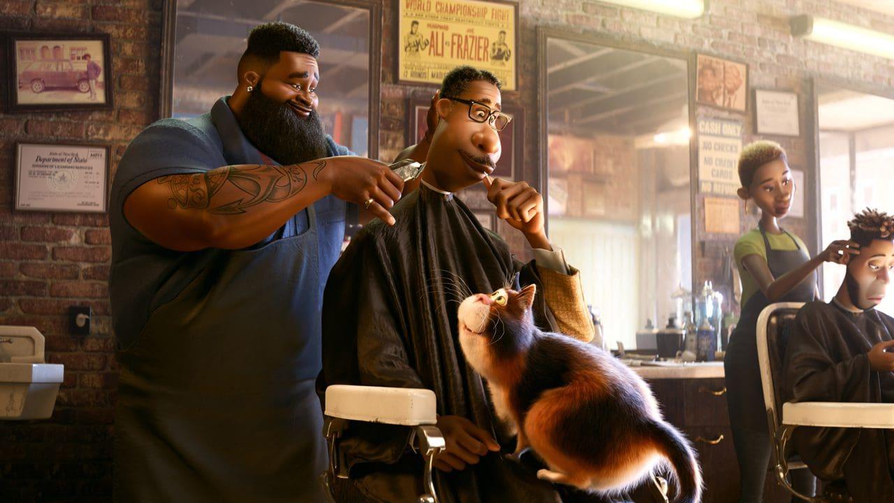 Joe Gardner, il gatto e il barbiere in Soul